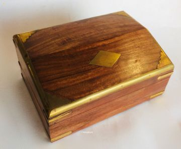 "CASKET 6.8x4.8"" BRASS BORDER Memorial Ash Urn Box"